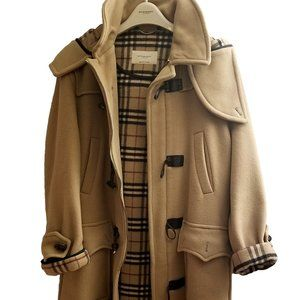 Burberry 100% Wool Duffle Coat With Leather Detail